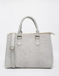 Замшевая сумка-тоут с тиснением под крокодиловую кожу ASOS - Серый