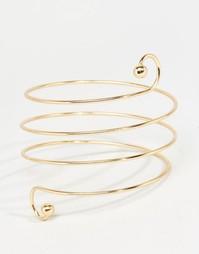Спиралеобразный браслет‑манжет на предплечье Love Rocks - Золотой