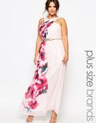 Платье макси с цветочным принтом Little Mistress Plus - Мульти