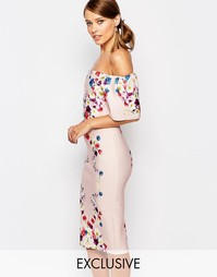 Платье-футляр с принтом и рюшами True Violet - Многоцветный цветочный