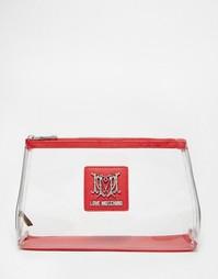 Прозрачная косметичка Love Moschino - Красный