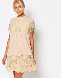 Платье с присборенной юбкой и кружевными вставками Fashion Union
