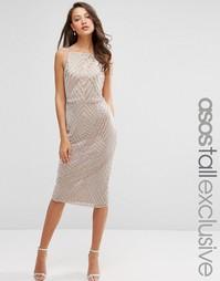 Платье-футляр с отделкой в виде шевронов ASOS TALL - Телесный