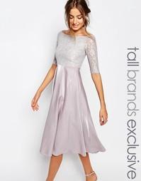 Платье миди для выпускного с кружевным топом и широким вырезом True De