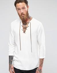 Вискозная рубашка классического кроя с завязкой у горловины ASOS
