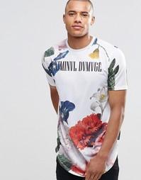Удлиненная футболка с цветочным принтом Criminal Damage - Белый