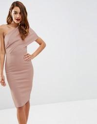Платье миди на одно плечо с открытой молнией ASOS - Mink