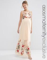 Сетчатое платье макси для беременных с вышивкой ASOS Maternity