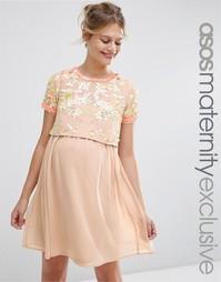 Короткое приталенное платье для беременных с декоративной отделкой ASO Asos Maternity