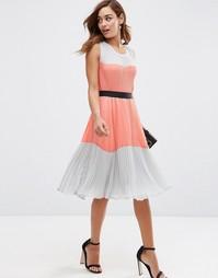 Плиссированное платье в стиле колор блок ASOS - Мульти