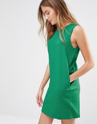 Цельнокройное льняное платье без рукавов Ichi - Зеленый