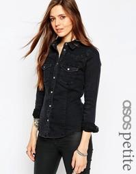 Черная джинсовая рубашка в стиле вестерн ASOS PETITE - Черный
