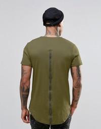 Длинная футболка на молнии сзади Sixth June - Хаки
