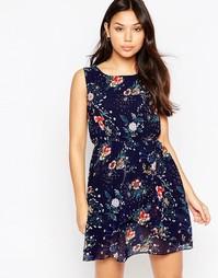 Короткое приталенное платье с цветочным принтом Iska - Темно-синий