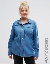 Джинсовая рубашка с вышивкой на воротнике ASOS CURVE - Синий