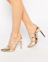 Сабо с острым носком ASOS PLATOON - Золотой металлик