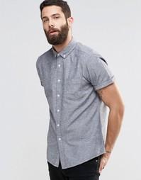 Саржевая рубашка цвета хаки в крапинку с длинными рукавами ASOS