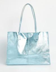 Кожаная сумка-шоппер без подкладки с узкими ремешками ASOS - Синий