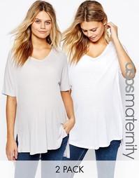 2 oversize‑футболки в рубчик с V‑образным вырезом для беременных ASOS