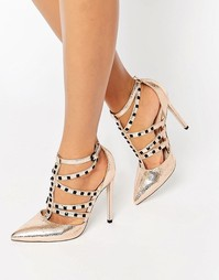 Туфли на каблуке с ремешками и заклепками ASOS PROTECTOR - Телесный