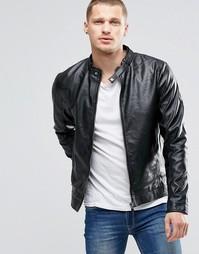 Черная байкерская куртка из искусственной кожи на молнии Blend