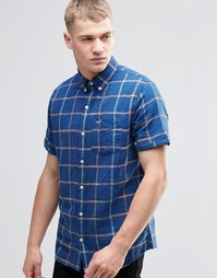 Темно-синяя льняная рубашка в клетку с короткими рукавами Hollister