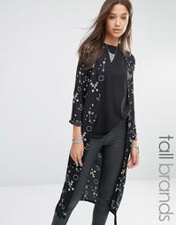 Удлиненное кимоно с принтом Noisy May Tall - Черный
