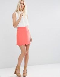Мини юбка‑трапеция с фигурным краем ASOS - Нежно-абрикосовый