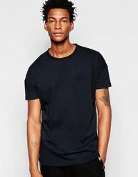 Удлиненная футболка с карманом Minimum - Черный