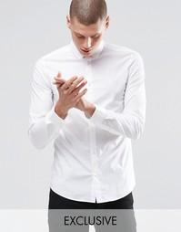Стретчевая рубашка скинни с закругленным воротником Only & Sons