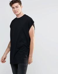Черная oversize-футболка без рукавов с углубленной проймой и необработ Asos