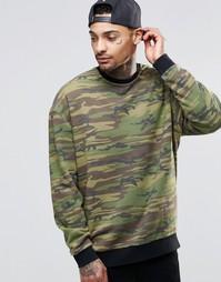Oversize-свитшот с камуфляжным принтом ASOS - Зеленый
