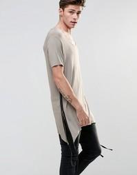 Серо-коричневая супердлинная футболка с фигурной кромкой ASOS