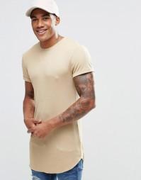 Верблюжья супердлинная облегающая футболка в рубчик с отворотами ASOS