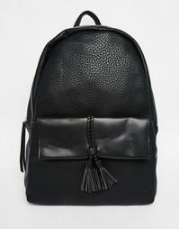 Рюкзак с плетеным шнурком на кармане Pieces - Черный