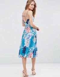 Плиссированное платье миди с запахом спереди ASOS - Мульти