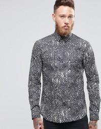Облегающая рубашка с монохромным леопардовым принтом Noose & Monkey