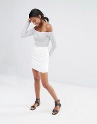Джинсовая мини-юбка Missguided - Белый