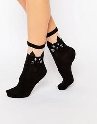 Непрозрачные носки с черными кошками Leg Avenue - Черный