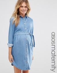 Синее джинсовое платье-рубашка мини для беременных ASOS Maternity