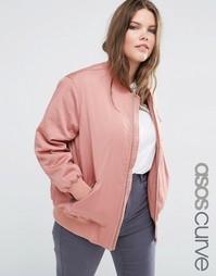 Куртка-пилот c молниями ASOS CURVE - Розовый