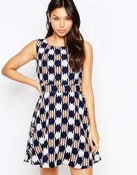 Платье с принтом и завязкой сзади Iska - Темно-синий