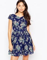 Платье с цветочным принтом и молнией сзади Iska - Синий