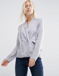 Атласная пижамная блузка с запахом спереди ASOS - Серый