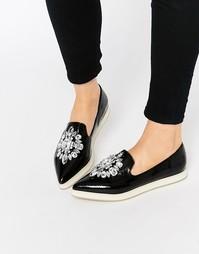 Туфли на плоской подошве с отделкой ASOS METAPHOR - Черный