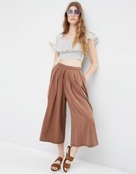 Юбка-шорты со складками ASOS - Выбеленный коричневый