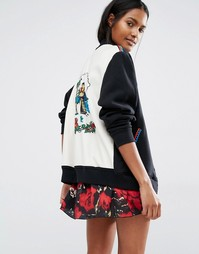 Бейсбольная куртка с фирменным принтом Anna Sui - Черный