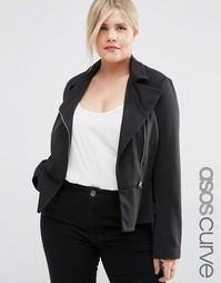 Куртка на молнии с баской ASOS CURVE - Черный