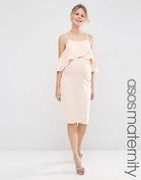 Платье миди с высокой горловиной и вырезами на плечах ASOS Maternity