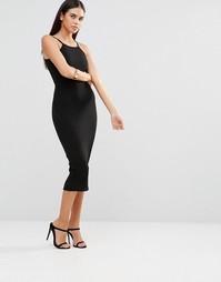 Платье миди в рубчик с квадратным вырезом Club L - Черный